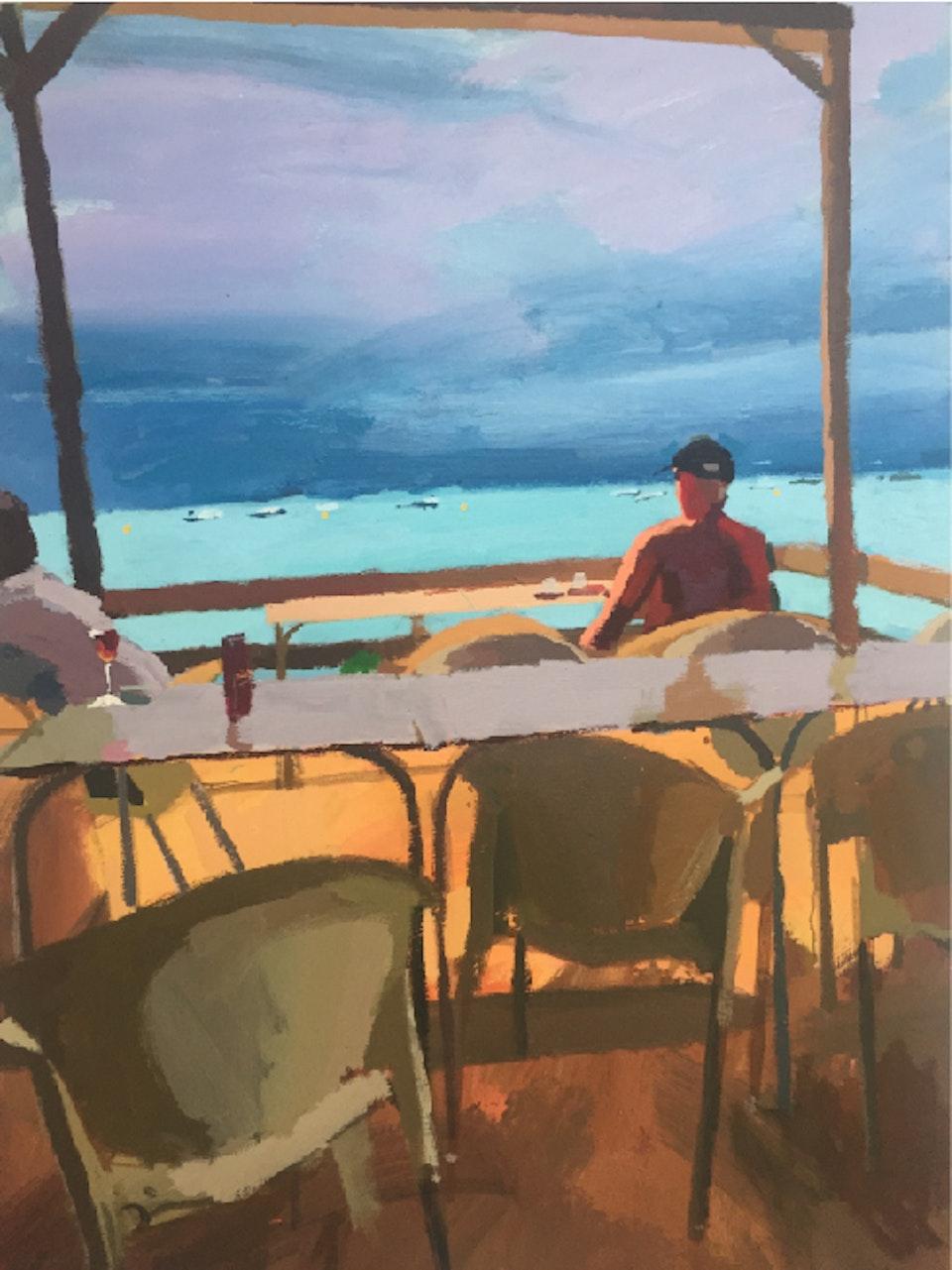 Paul Amey, Ocean Bar with Figure, acrylic on board 120 x 80 cm