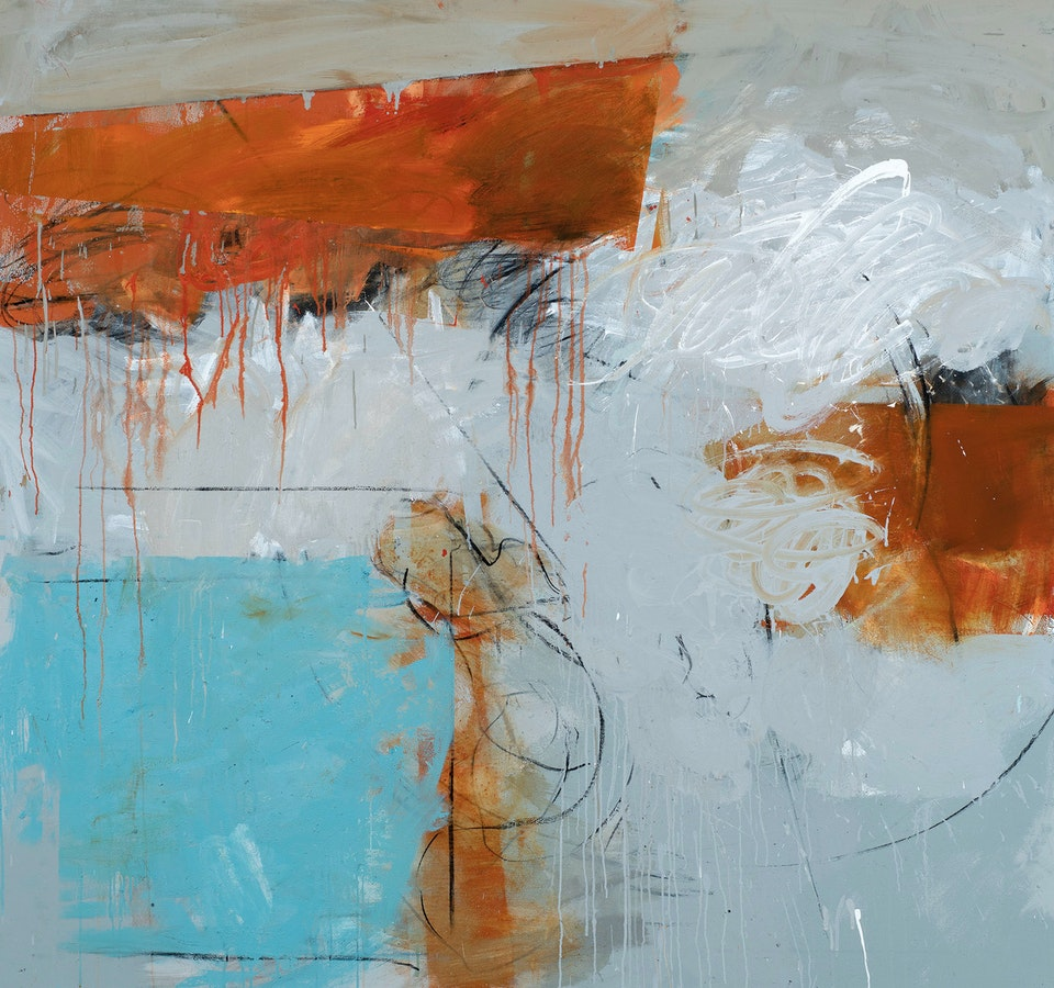 Day Bowman, Fortress 7, oil, charcoal and conte on canvas 140 x 150 x 3 cm