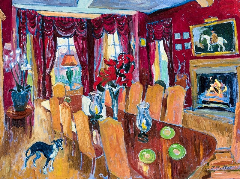 Red Dining Room with Dog 2016