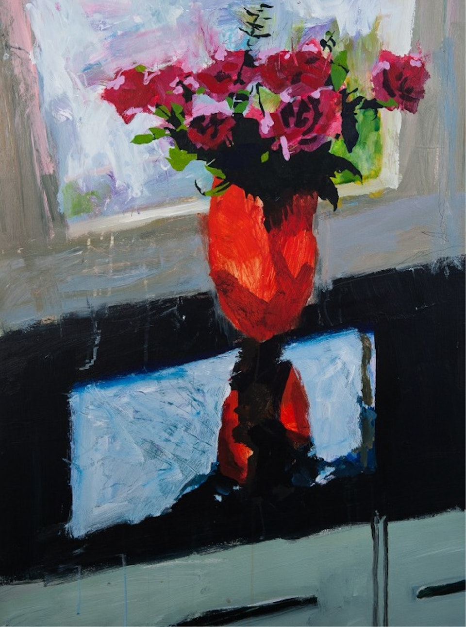 Paul Amey, Roses / Red Vase pigmented inks on archival paper  ed of 75